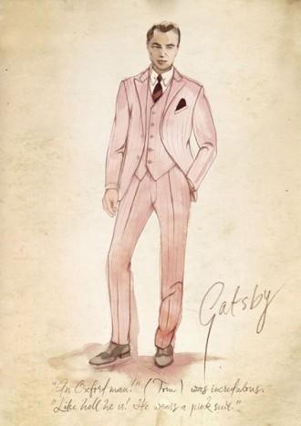 Bozzetto dell'abito rosa indossato di Jay Gatsby